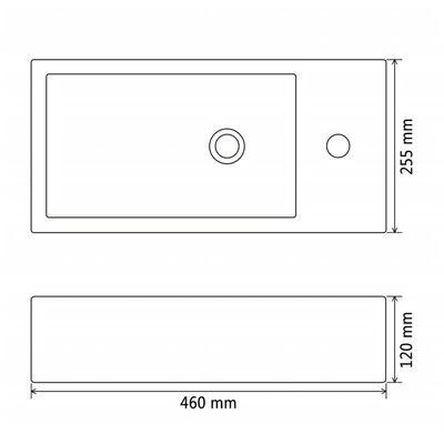 vidaXL Servant med kranhull rektangulær keramisk svart 46x25,5x12 cm