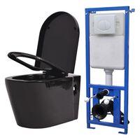 vidaXL Vegghengt toalett med skjult sisterne svart keramikk