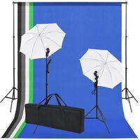 vidaXL Fotostudiosett: 5 fargerike bakgrunner og 2 paraplyer