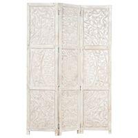 vidaXL Romdeler håndskåret 3 paneler hvit 120x165 cm heltre mango