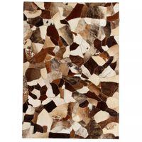 vidaXL Lappeteppe ekte lær 80x150 cm tilfeldig brun/hvit