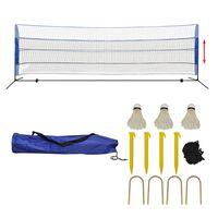 vidaXL Badmintonnett med fjærballer 500x155 cm