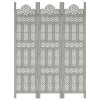 vidaXL Romdeler håndskåret 3 paneler grå 120x165 cm heltre mango