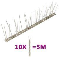 vidaXL Fuglepigger 5 rader 10 stk rustfritt stål 5 m