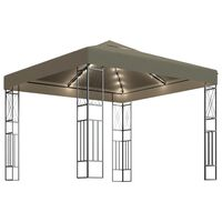 vidaXL Paviljong med LED-lysslynge 3x3 m gråbrun stoff