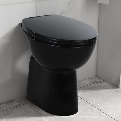 vidaXL Høyt kantfritt toalett myk lukkemekanisme 7 cm keramisk svart