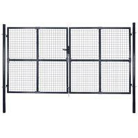 vidaXL Hageport netting galvanisert stål 289x175 cm grå