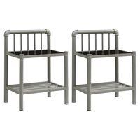 vidaXL Nattbord 2 stk grå og svart metall og glass
