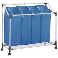 vidaXL Skittentøyskurv med 4 poser blå stål