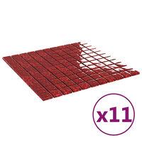 vidaXL Selvklebende mosaikkfliser 11 stk rød 30x30 cm glass