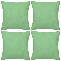 4 Eplegrønne putetrekk, bomull 40 x 40 cm