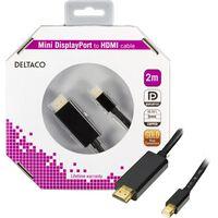 DELTACO mini DisplayPort å HDMI skjermkabelen med lyd, 2 m