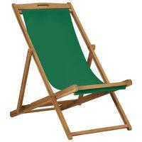 vidaXL Sammenleggbar strandstol heltre teak grønn