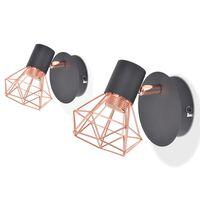 vidaXL Vegglampe 2 stk E14 svart og kobber