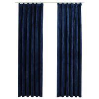 vidaXL Lystette gardiner med kroker 2 stk fløyel mørkeblå 140x245 cm