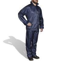 Marineblå regntøysett med hette for menn M