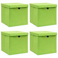 vidaXL Oppbevaringsbokser med lokk 4 stk grønn 32x32x32 cm stoff