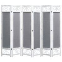 vidaXL Romdeler 6 paneler grå 210x165 cm stoff