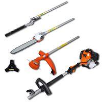 vidaXL 4-i-1 multiverktøy hekk&gresstrimmer, motorsag, ryddesag
