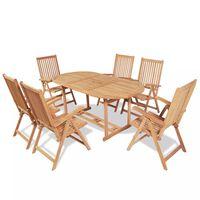 vidaXL Utendørs spisestue med brettbare stoler 7 deler heltre teak