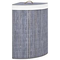 vidaXL Skittentøyskurv til hjørne bambus grå 60 L