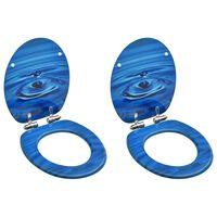 vidaXL Toalettsete med myk lukkefunksjon 2stk MDF blå vanndråpe-design