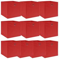 vidaXL Oppbevaringsbokser 10 stk rød 32x32x32 cm stoff