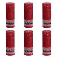 Bolsius Rustikke søylelys 6 stk 190x68 mm vinrød