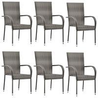 vidaXL Stablestoler 6 stk grå polyrotting