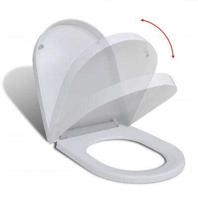 vidaXL Toalettsete med soft-close og hurtigfeste hvit firkantet
