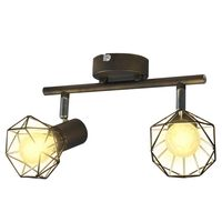 Sort spotlight, trådramme i industriell stil med 2 LED lys