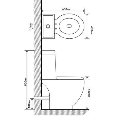 vidaXL Keramisk toalett vannføring på baksiden svart