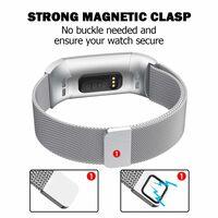 Fitbit Charge 3/4 armbånd Milanese loop - sølv - L