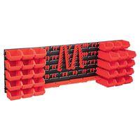 vidaXL Oppbevaringsbokssett i 80 deler med veggpaneler rød og svart