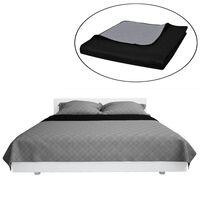 Tosidig vattert sengeteppe svart/grå 220 x 240 cm