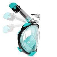 Full maske cyclop med snorkel og GoPro-feste - turkis - S / M