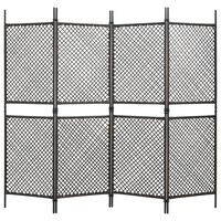 vidaXL Romdeler med 4 paneler polyrotting 240x200 cm brun