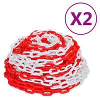 vidaXL Sperrekjettinger 2 stk rød og hvit plast 30 m