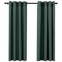 vidaXL Lystette gardiner maljer og lin-design 2 stk grønn 140x175 cm