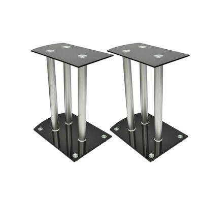 Aluminium Høyttaler Bordstativ Svart Glass 2stk