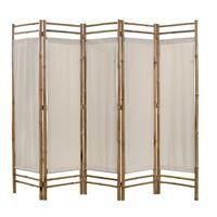 vidaXL Sammenleggbar romdeler 5-paneler bambus og lerret 200 cm