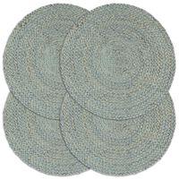 vidaXL Bordmatter 4 stk ren olivengrønn 38 cm rund jute