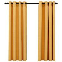 vidaXL Lystette gardiner med maljer og lin-design 2 stk gul 140x175 cm