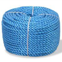 vidaXL Vridd tau polypropylen 12 mm 250 m blå
