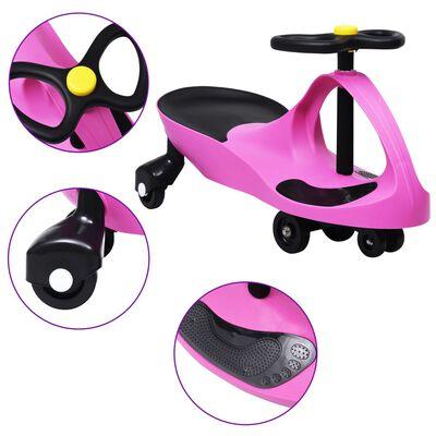 vidaXL Svingbil for barn med horn rosa