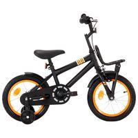 vidaXL Barnesykkel med bagasjebrett foran 14 tommer svart og oransje