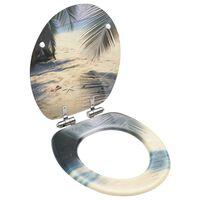 vidaXL Toalettsete med myk lukkefunksjon MDF stranddesign