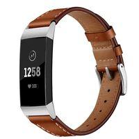 Fitbit Charge 3 armbånd i ekte lær - brunt