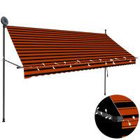 vidaXL Manuell uttrekkbar markise med LED 300 cm oransje og brun