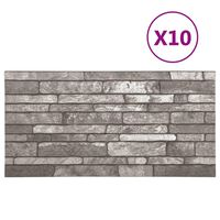 vidaXL 3D veggpaneler med mørkegrått mursteindesign 10 stk EPS
